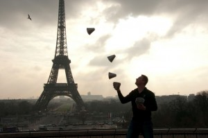 Niels with Shaker Cups at the Eiffel Tower