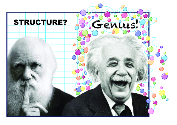 Darwin and Einstein, Structure? Genius!