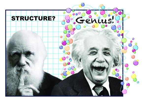 Darwin and Einstein, Structure? Genius!