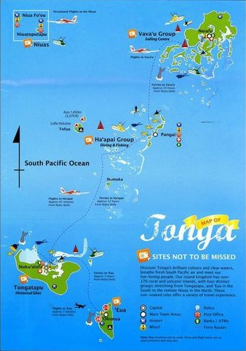 Tonga has 170 islands (approx.) spanning over 500 miles. It's located in the middle of the Pacific Ocean, far from any other countries.