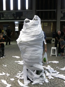 The winner of toilet paper juggling.