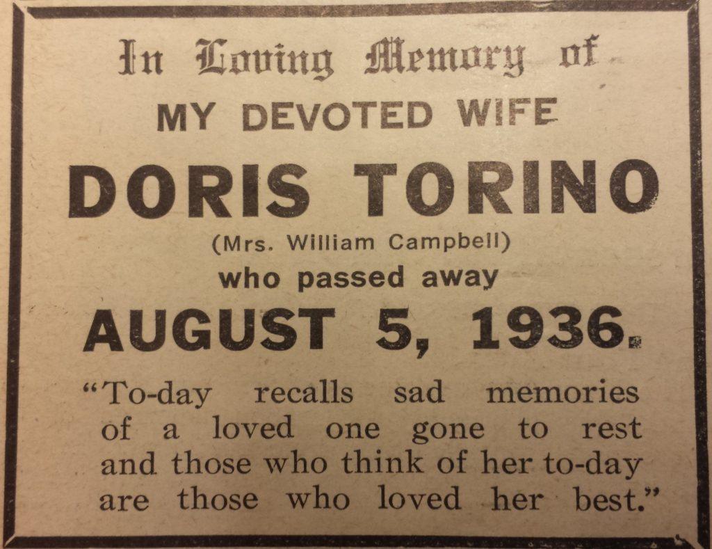 Torino Obit to wife